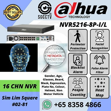 DAHUA NVR5216-8P-IL 16CH NVR Face Recognition People Counting Heat Map Perimeter Protection Network Recorder