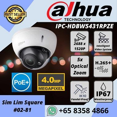 DAHUA 4MP IVS H.265+ 5x Optical Zoom IP67 IK10 IP POE IR Dome IPC-HDBW5431RPZE