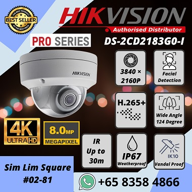 HIKVISION 4K 8MP IP POE Pro Series Dome Camera DS2CD2183G0 iVMS-4200 Hik-Connect Hik-Central Face Detection H.265+Face Detection H.265+ IR 30m Weatherproof IP67