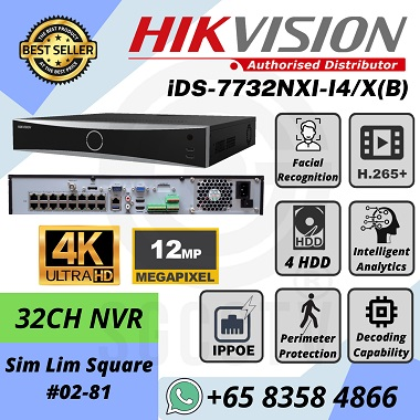 Hikvision 32ch 4K 12MP IP POE NVR iDS-7732NXI-I4X B Face Recognition People Counting Heat Map Perimeter Protection Network Recorder