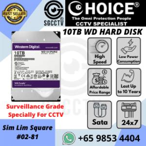 Video Storage Cloud NAS Western Digital 10TB WD Purple Surveillance Internal Hard Drive SATA-6Gb-s 256-MB WD102PURZ